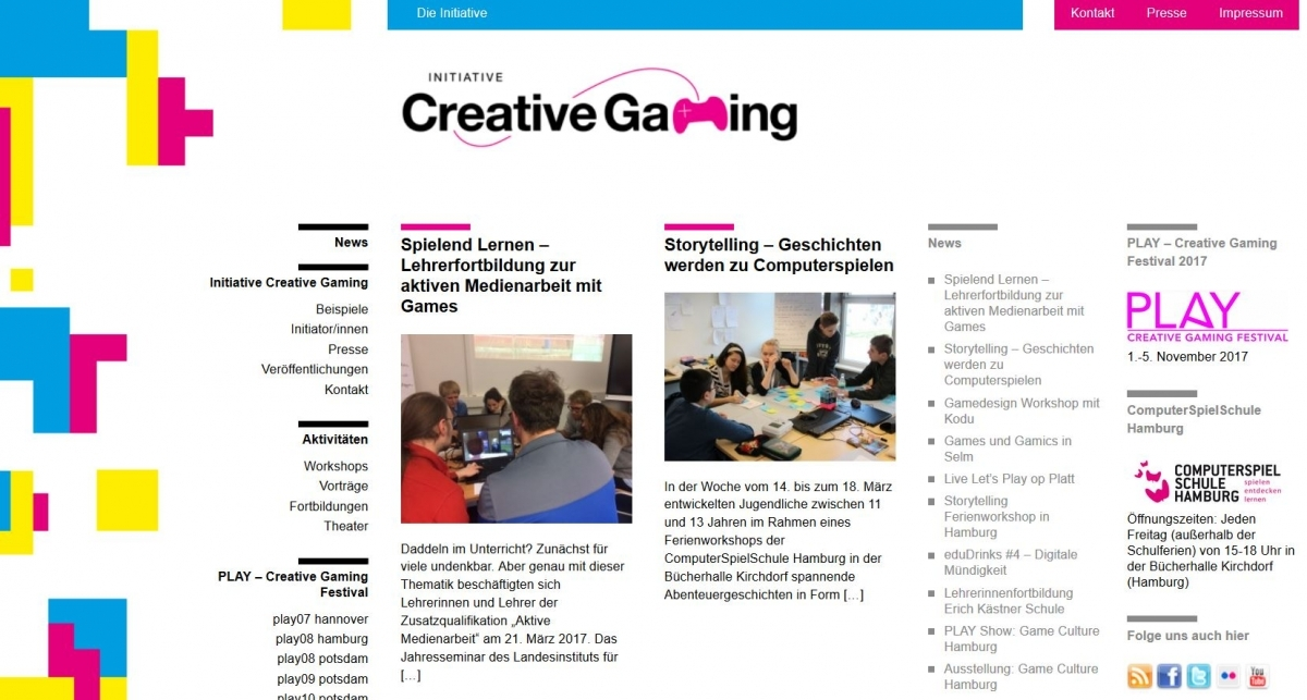 Homepage der Initiative Creative Gaming