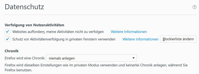Screen zur Firefox Do-not-track-Einstellung
