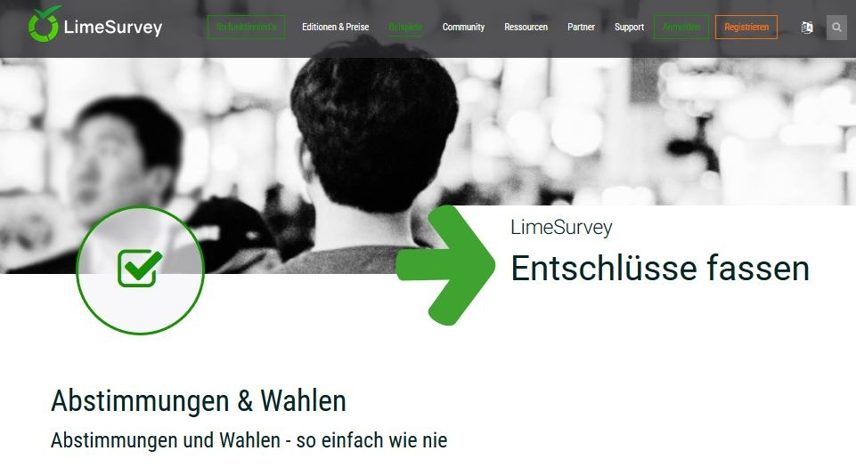 Screenshot von limesurvey.org