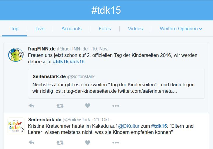 Tweets #tdk15; (c) Screenshot https://twitter.com/hashtag/tdk15