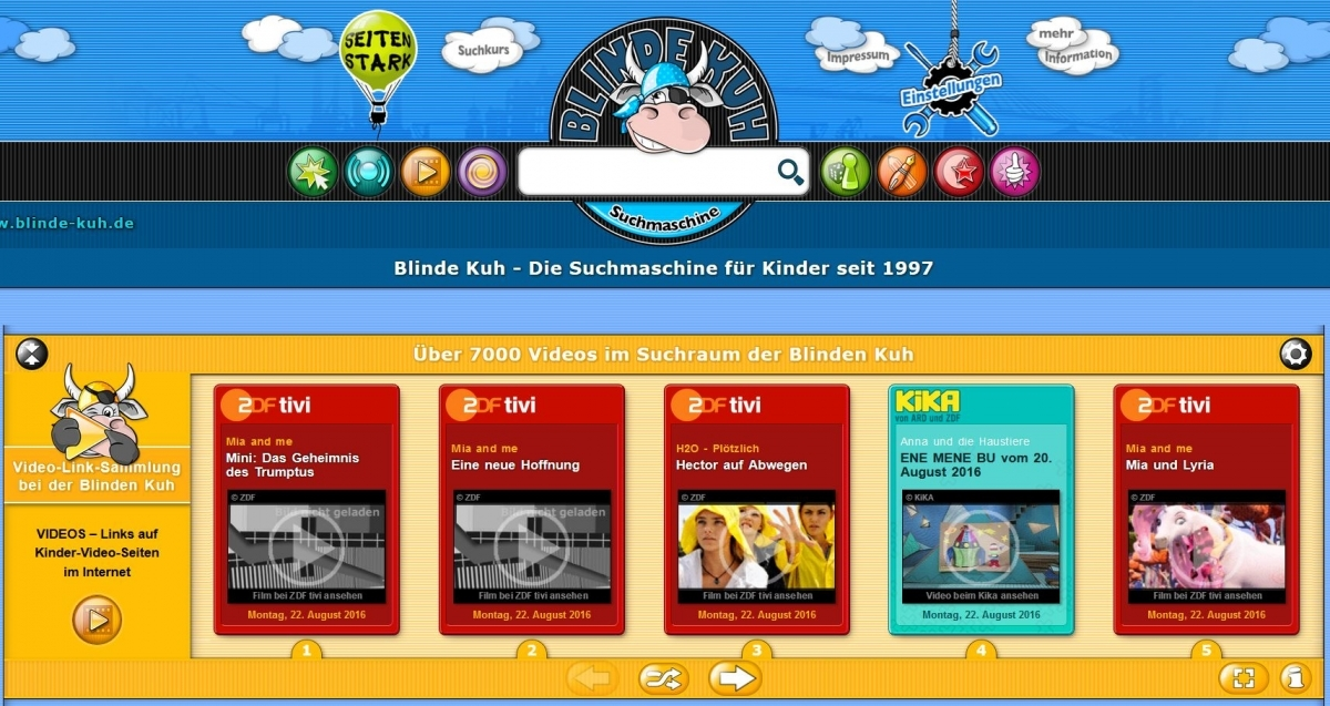 Screenshot blinde-kuh.de