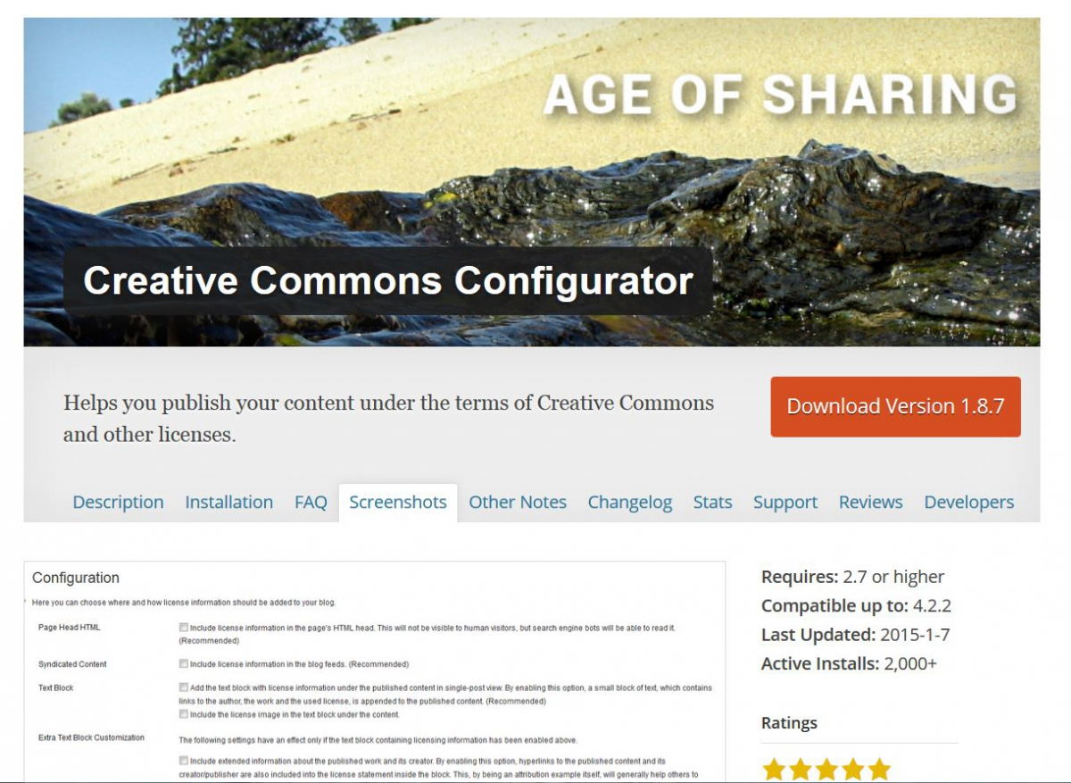 Screenshot Creative Commons Configurator