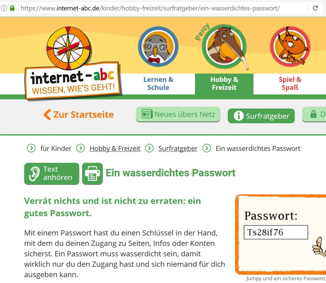 Screenshot www.internet-abc.de