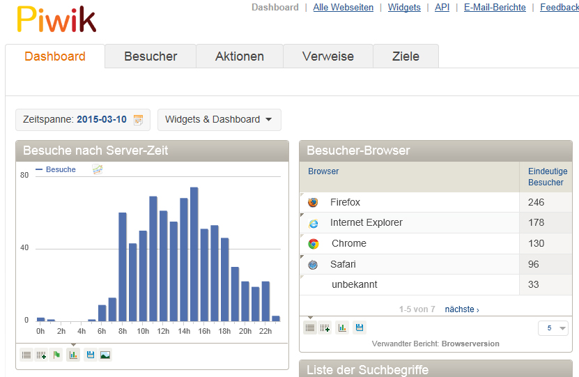 Screenshot: Beispiel für Piwik Dashboards
