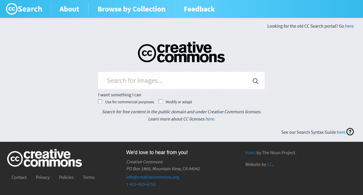 Screenshot Startseite https://search.creativecommons.org/