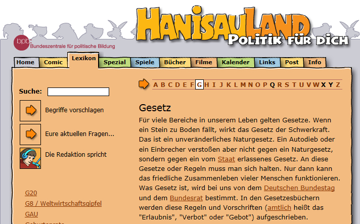 Screenshot www.hanisauland.de