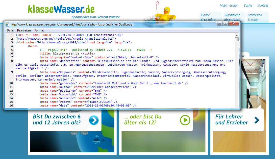 Screenshot www.klassewasser.de