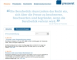 Screenshot www.presserat.de